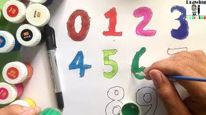 how to drawing numbers for kids and coloring pages with color