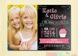 Twins 1st Birthday Invitation Cards Twins Chalkboard Cupcake Invitation 1 2 3 4 Year Old Etc