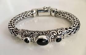 black onyx silver bracelet images Solid sterling silver bracelet with black onyx stones 20 5 cm jpg