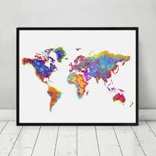 World Map Wall Decor World Map Poster Watercolor World Map Wall Art Wall Hanging Map