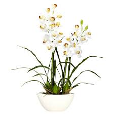 Fake Orchids Silk Cymbidium Orchids With White Vase 4803