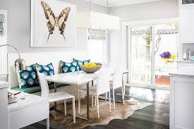 contemporary breakfast nook with brown cowhide rug contemporary