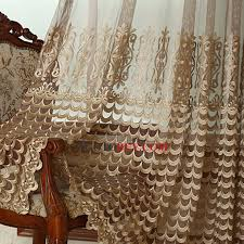 luxury gold embroidery pattern coffee color organza sheer curtain