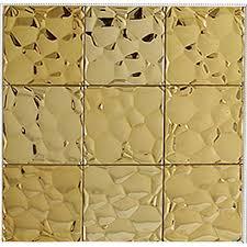 Gold Stainless Steel Tile Mosaic Pebble Patterns Metal Backsplash - Pebble backsplash