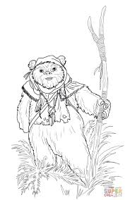 ewok coloring page free printable coloring pages