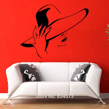 compare prices beautiful bedroom decor online shopping buy low girl head fashion hat beauty wall art stickers decal home decoration sticker removable