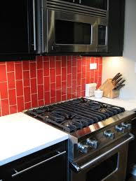 large glass tile backsplash kitchen classic red glass subway tile in tomato modwalls lush 3x6 kitchen