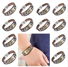 stainless steel bracelet clasps images Signs bracelet with stainless steel clasp leather bracelet for men jpg