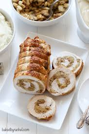 turkey roulade with bread baked by