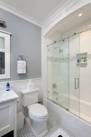 Sliding Shower Doors For Small Spaces Sliding Shower Doors Transitional Bathroom Blue Water Home