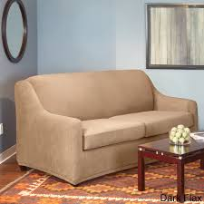 brown microfiber small twin loveseat sleeper sofa in living room