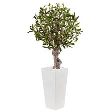 nearly natural indoor olive artificial tree in white tower planter