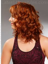 vies of side and back of wavy bob hairstyles naturally curly auburn style with curls side view hair idea