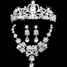 wedding accessories bridal jewelry crown necklace and earring tiara rhinestone wedding