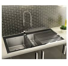 Black Glass Kitchen Sinks Carron Silhouette 150 Stainless Steel Sink With Black