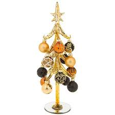 large gold glass tree with gold and black baubles