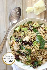 healthy grilled chicken salad with quinoa and orzo pasta