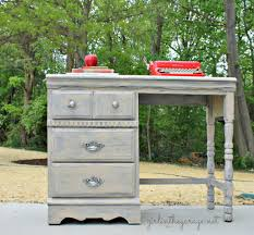 vintage desk makeover in the garage