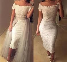 discount off shoulder lace tea length wedding dresses appliques