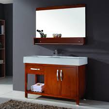 minimalist vanity bathroom vanity cabinets wiht redwood material and rectangle mirror