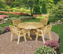 Octagon Patio Table by Amish Royal Patio Pine Furniture Collection