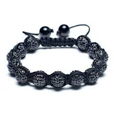 bead bracelet crystal images Unisex black shamballa inspired bracelet crystal beads 10mm jpg