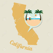 California Map California Map With Beach Icon Royalty Free Cliparts Vectors And