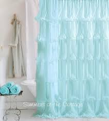 Ruffled Pink Curtains Shabby Chic Beach Cottage Shower Curtains White Ruffles Pink Roses