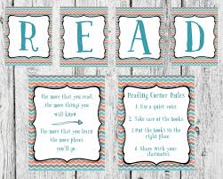 coral blue and gray reading set read sign