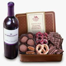 Wine And Chocolate Gift Baskets Valentine Chocolate Assortment With Wine Hickory Farms