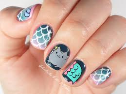 for the nails with pusheen cat on them i decided to use a dark