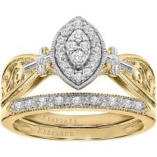 yellow gold bridal sets keepsake faithful 1 5 carat t w certified diamond 10kt