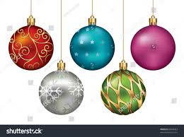 christmas ornaments hanging on gold thread stock vector 87008423