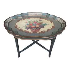 removable tray top table removable tray top with folding leg floral tea table chairish