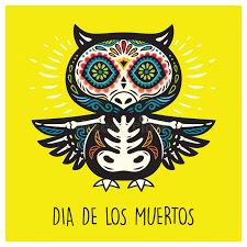 dia de los muertos greeting card with sugar skull owls stock