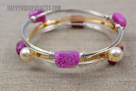 bead bangle bracelet images Diy wire wrapped bead bangle video tutorial happy hour projects jpg