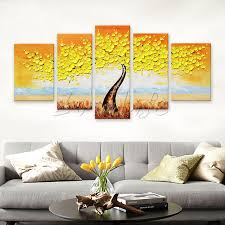 5 piece canvas wall art hand painted palette knife oil aliexpress com buy 5 pieces panel wall art palette knife hand