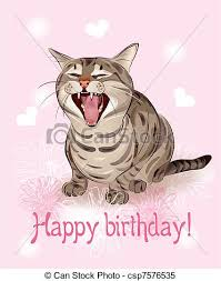 clipart vector of happy birthday card funny cat sings greeting
