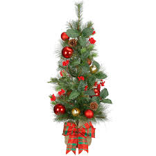 3 ft pre lit natural two tone pine artificial christmas tree