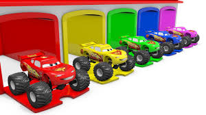 bigfoot presents meteor and the mighty monster trucks learn colors for kids with 3d lightning mcqueen truck garage