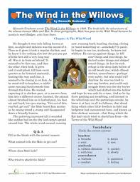 reading the wind in the willows worksheets reading