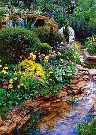 beautiful flower garden with fountain decorating clear