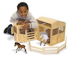 Toy Wooden Barns For Sale Amazon Com Melissa U0026 Doug Folding Wooden Horse Stable Dollhouse