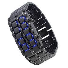 black bracelet box images Aqy lava style iron samurai black bracelet blue led jpg