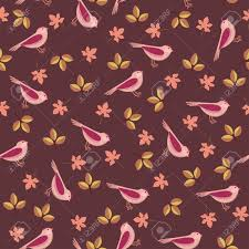 Wallpaper With Birds Seamless Bright Wallpaper With Birds And Leaves Royalty Free
