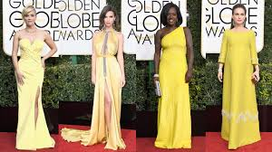 2017 golden globes fashion trends pink yellow and gold dominate