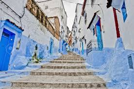 Morocco Blue City by Blue Shaded City Streets Of Chefchaouen Morocco Stock Photo