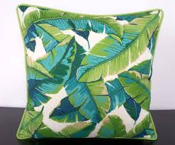 Tropical Decor Green Palm Leaf Pillow Cover Palm Beach Decor Tropical