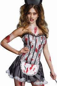 Maid Halloween Costume Bloody Zombie French Maid Costume Women