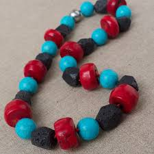 large red bead necklace images Best large black statement necklace products on wanelo jpg